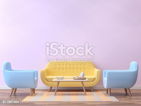 istock Colorful living room with pastel color 3d rendering image 911397404