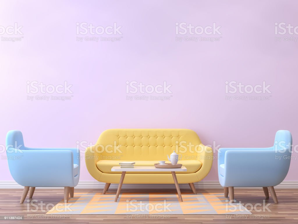 Colorful living room with pastel color 3d rendering image stock photo