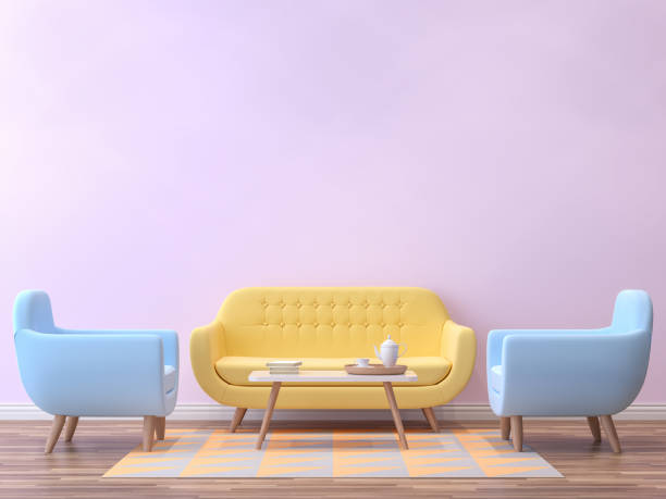 colorful living room with pastel color 3d rendering image - retro decor stock photos and pictures