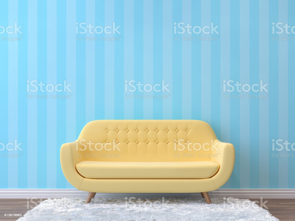 Colorful living room with pastel color 3d rendering image. stock photo