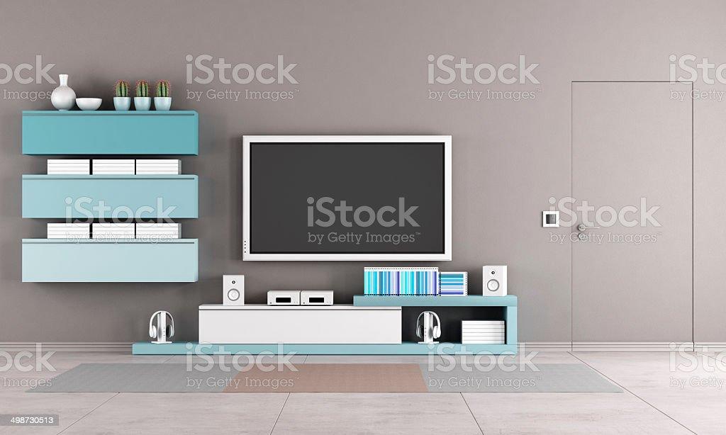 Colorful Living Room With Tv Stand Stockfoto En Meer Beelden Van Beige Istock