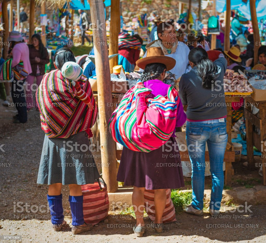 Colorful local Market in Peru stock photo