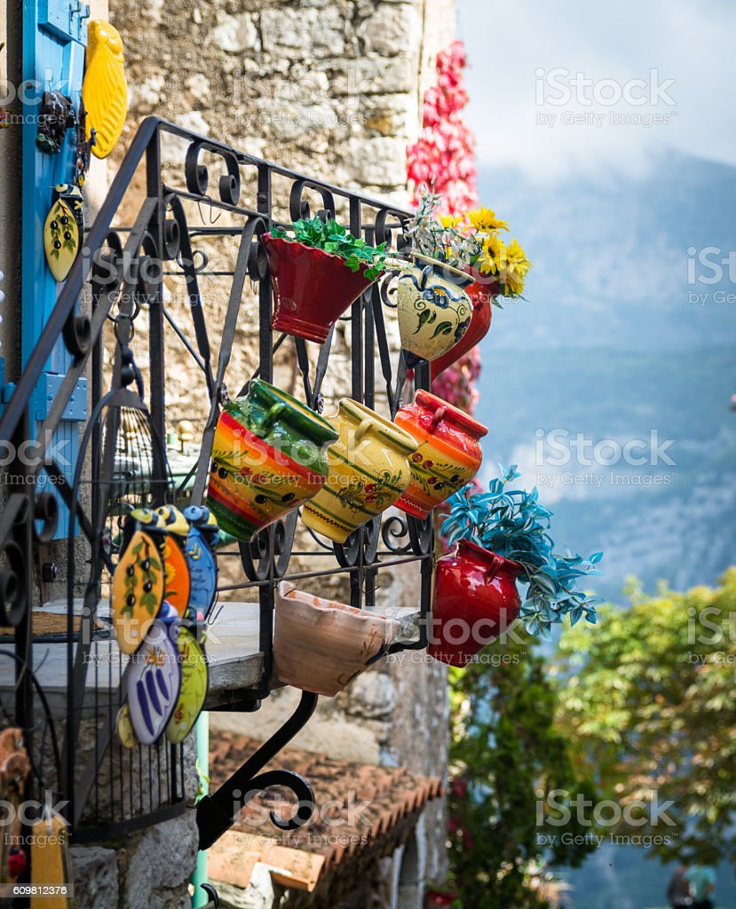 Colorful local pottery craft on sale in France stock photo