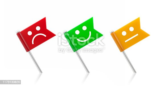 Colorful map pointer set with smiley faces on white background. Horizontal composition with copy space. Clipping path is included.