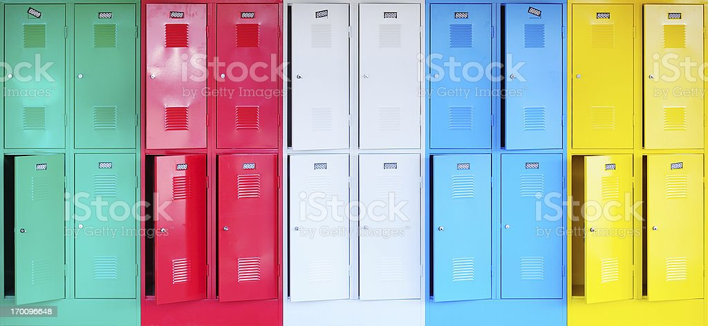 Colorful lockers stock photo