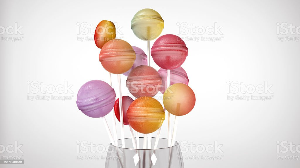 Colorful lollipop in glass isolated on white, 3D render stock photo