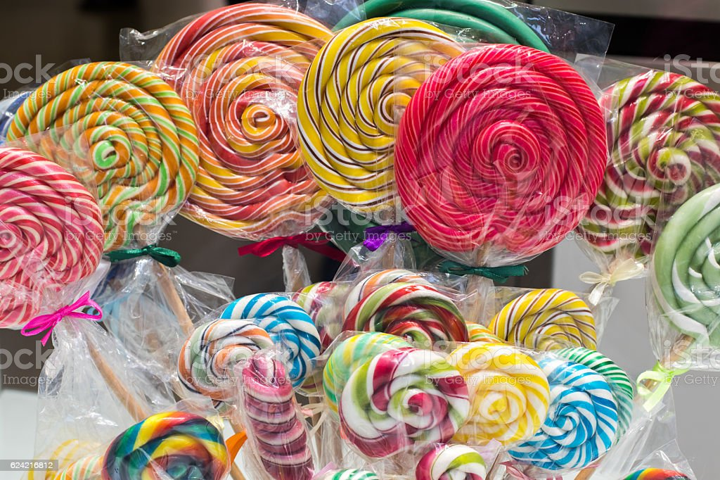 Colorful lollipops stock photo
