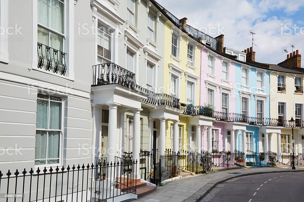 Colorful London houses in Primrose hill, England stock photo