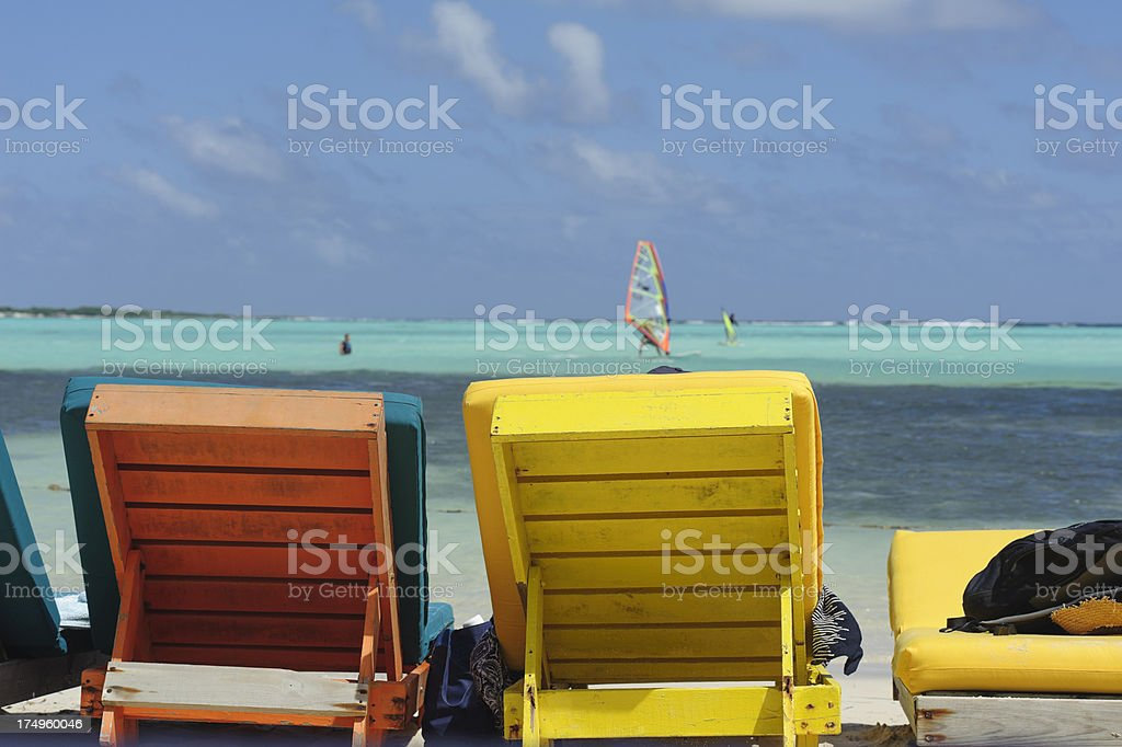 colorful lounge chairs at sorobon, bonaire royalty-free stock photo