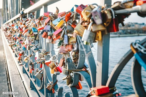 istock Colorful love locks on a Bridge in Frankfurt, Germany 840968704
