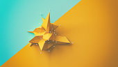 A yellow low poly object on a colorful background