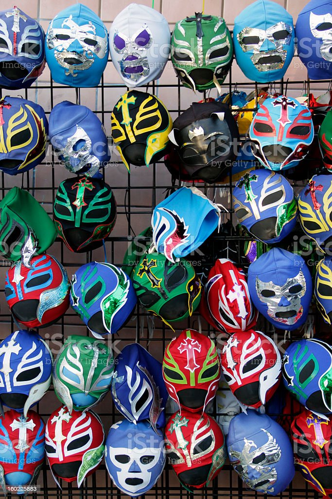 Colorful Lucha Libre Mexican Wrestling Masks stock photo