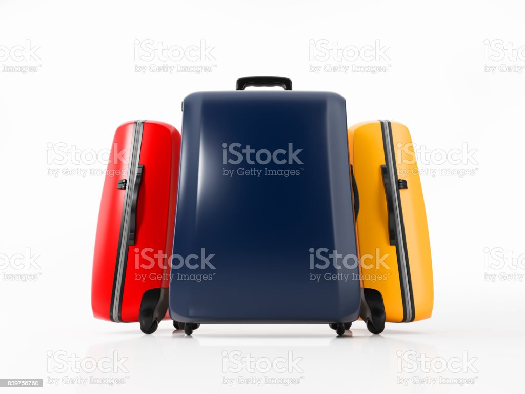 Colorful Luggages Isolatd on White : Travel Concept stock photo