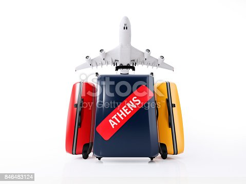 istock Colorful Luggages With Red Athens Sticker  Isolated on White Background : Travel Concept 846483124
