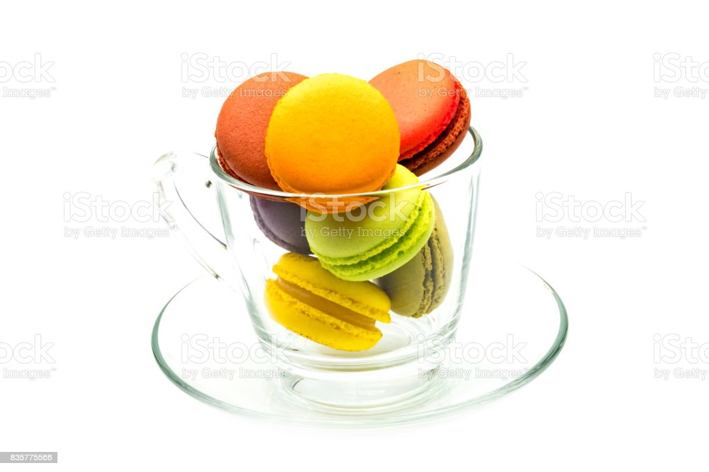 Colorful macarons in a glass stock photo
