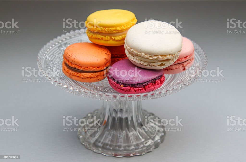 Colorful Macaroon Sweets on Plate stock photo