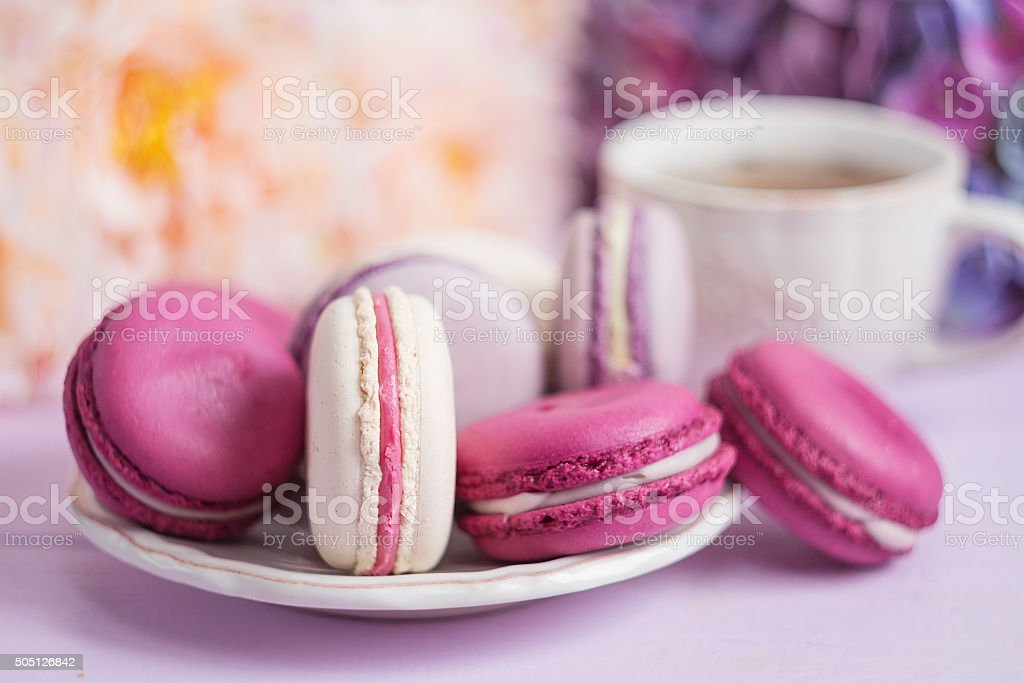 Colorful macaroons soft focus stock photo
