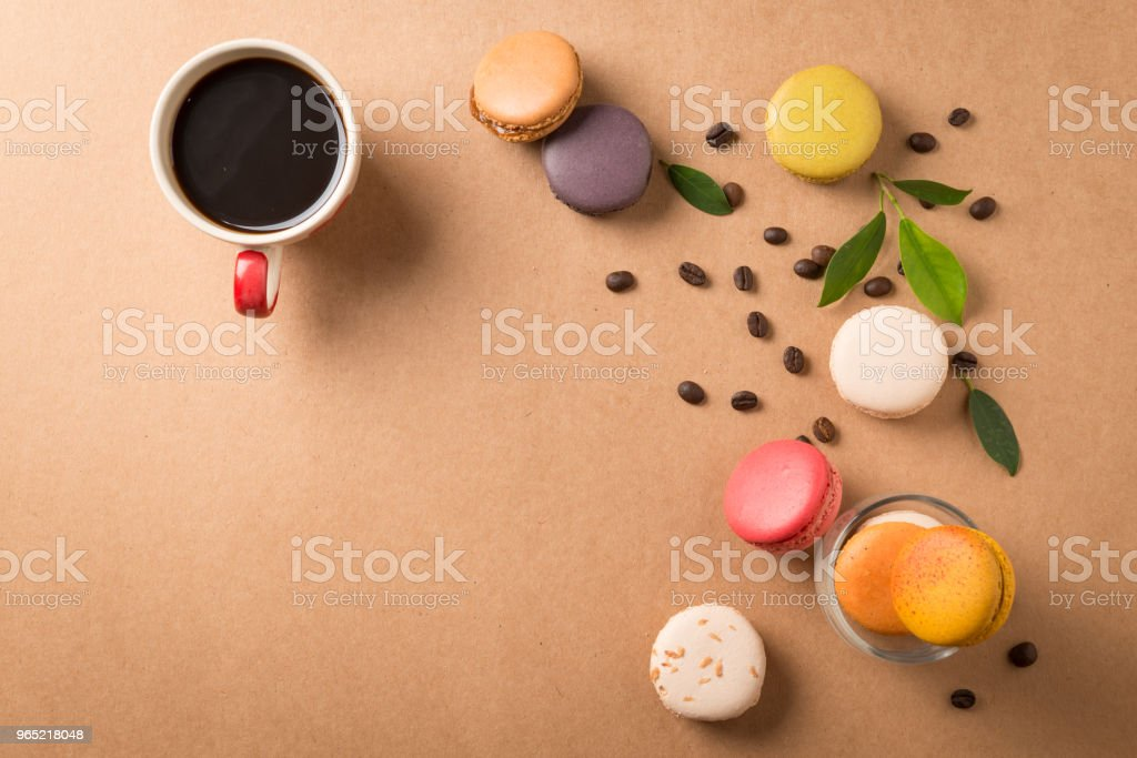 Colorful macaroons. Sweet macarons on retro background . royalty-free stock photo