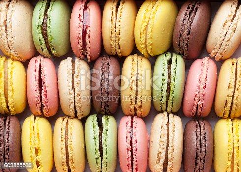 istock Colorful macaroons. Sweet macarons 603855530