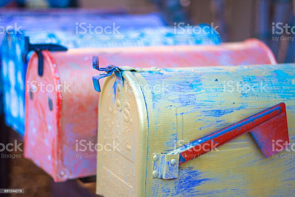 Colorful Mailboxes in a Row stock photo