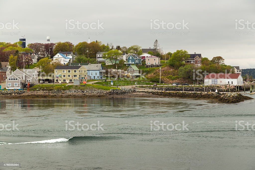 Colorful Maine Fishing Village stock photo