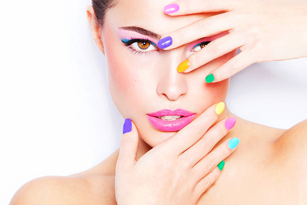 colorful makeup stock photo