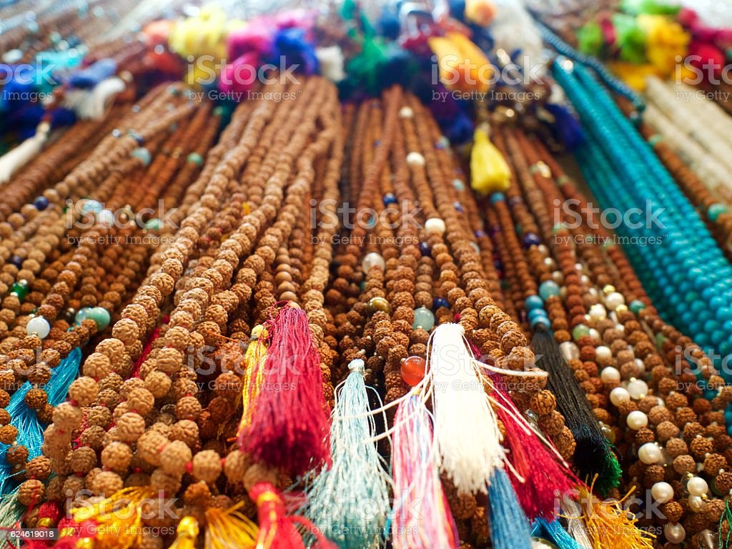 Colorful Malas in India stock photo
