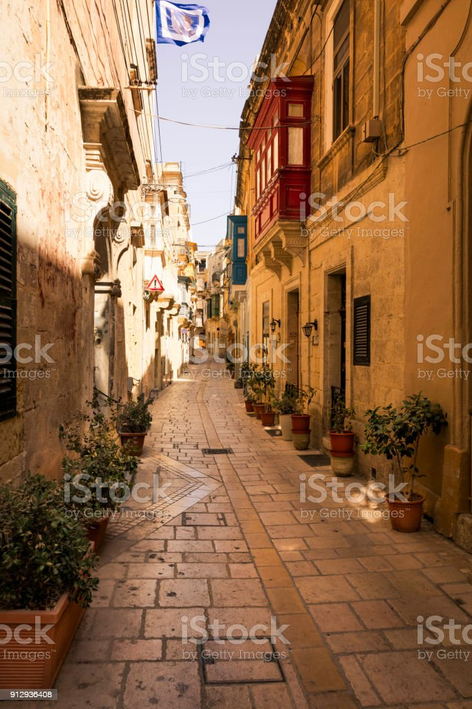 Colorful Maltese homes in the suburb of Birgu stock photo