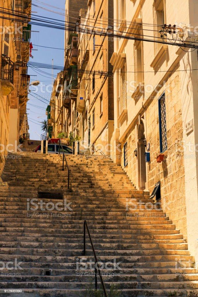 Colorful Maltese homes in the suburb of Senglea stock photo