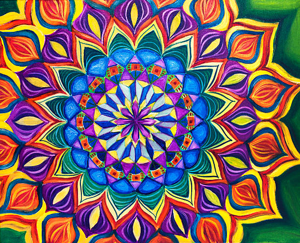 colorful mandala art oil painting - mandala bildbanksfoton och bilder