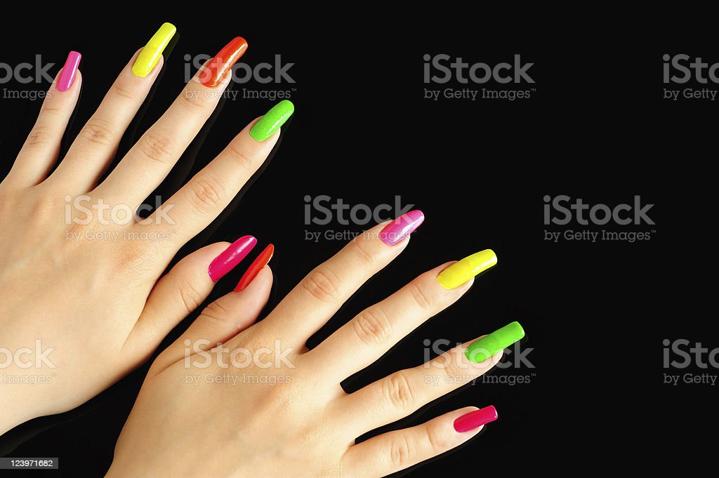 Colorful manicure royalty-free stock photo