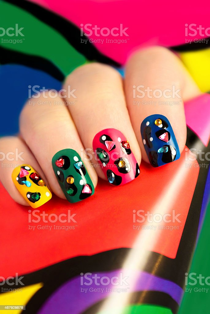 Colorful manicure. stock photo
