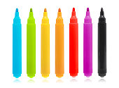 Colorful marker pen set on isolated background with clipping path.