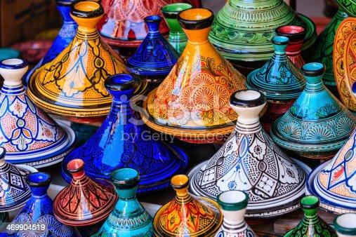 istock Colorful Maroccan tajine pots at a souk in Marrakech 469904519