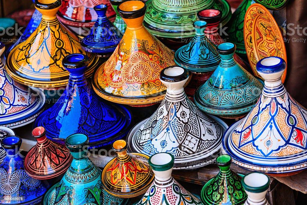 colorful maroccan tajine pots at a souk in marrakech stock. Black Bedroom Furniture Sets. Home Design Ideas