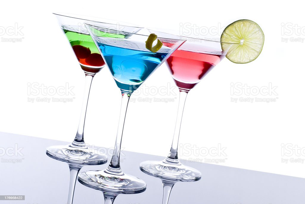 Colorful Martini Cocktails royalty-free stock photo