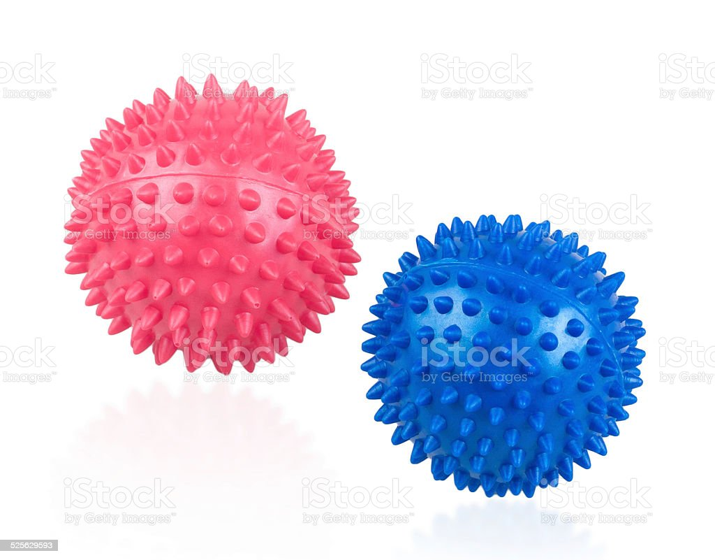 Colorful massage ball for hand exercise isolated stock photo