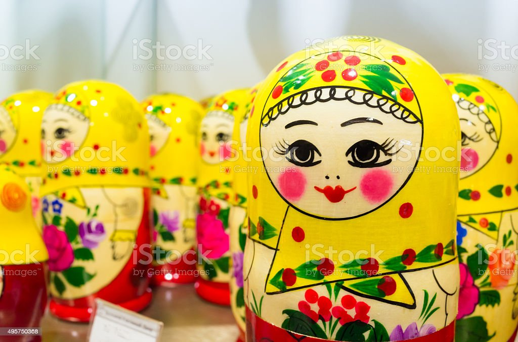 Colorful Matryoshka dolls, popular Russian souvenir stock photo