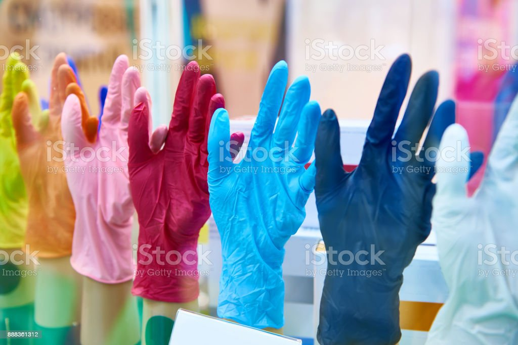 Colorful medical rubber gloves stock photo