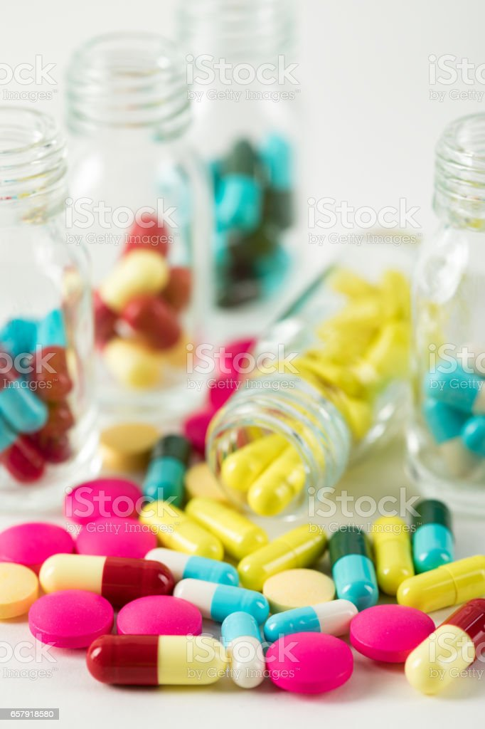 Colorful Medicine Pills And Capsules stock photo