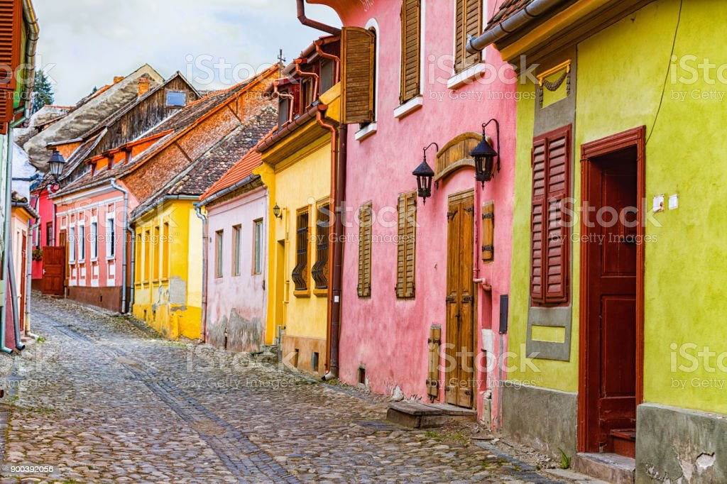 Colorful Medieval Buildings stock photo