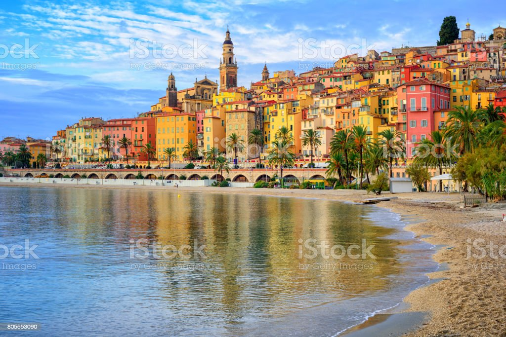 Colorful medieval town Menton on Riviera, Mediterranean sea, France stock photo