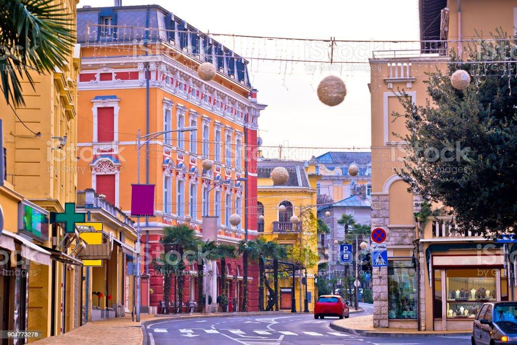 Colorful mediterranean street architecture of Opatija, Kvarner bay of Croatia stock photo