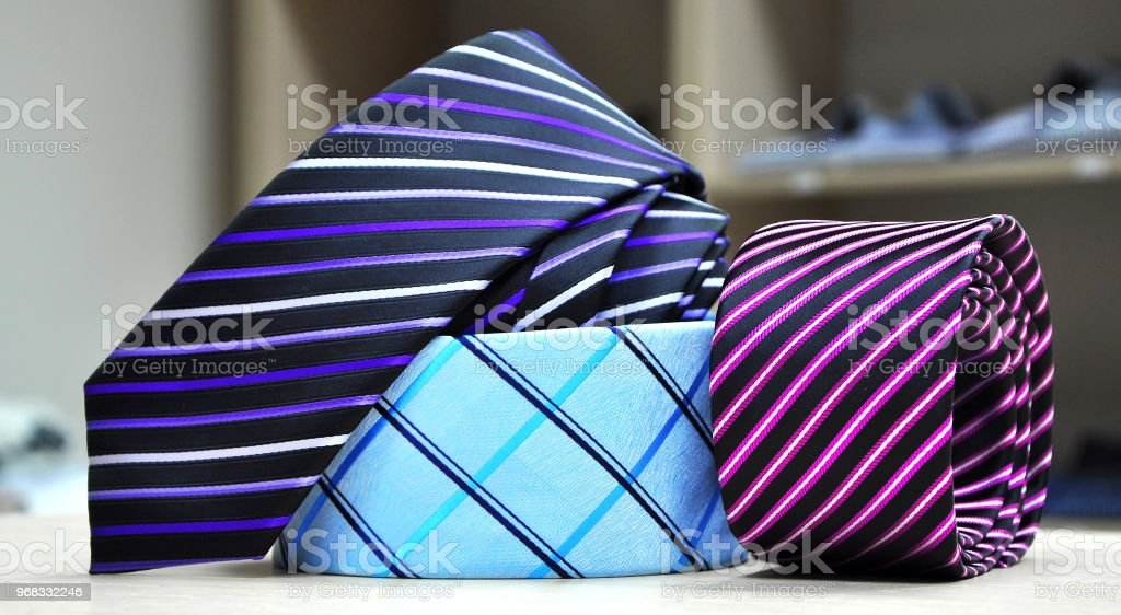 aaf1b4d95cdf Colorful men's tie collection.Display of different patterns and colours of man  ties in a