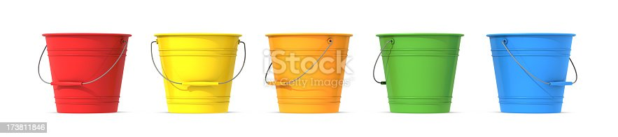 Colorful row of buckets on a white background.
