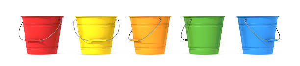 Colorful metal buckets with handle stock photo