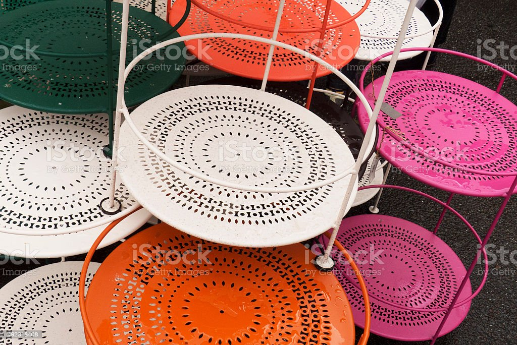 colorful metal tables Copenhagen,Denmark stock photo