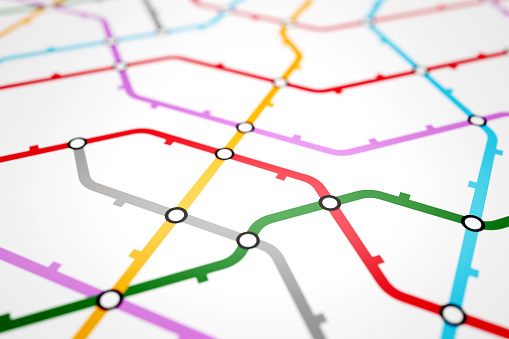 Colorful metro scheme, railway transport or city bus map on white background surface. Abstract 3D illustration