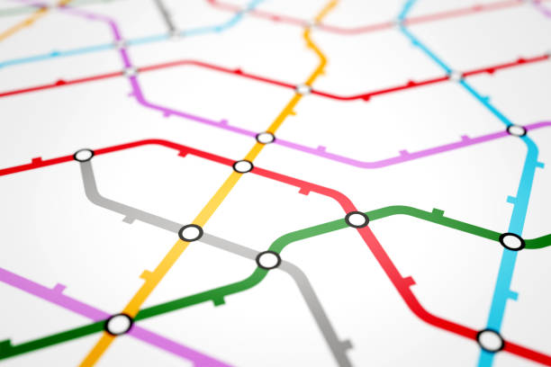 Colorful metro scheme, railway transport or city bus map Colorful metro scheme, railway transport or city bus map on white background surface. Abstract 3D illustration subway stock pictures, royalty-free photos & images
