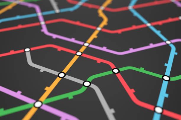 bunte u-bahn-regelung, bahnverkehr oder stadtbusplan - karte navigationsinstrument stock-fotos und bilder